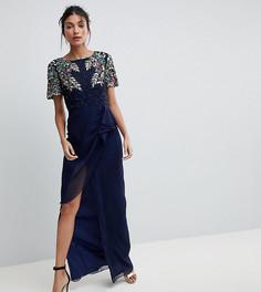 Декорированное платье макси с запахом на юбке Virgos Lounge Tall Ariann - Темно-синий
