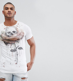 Длинная футболка с закругленным краем и принтом роз и черепа Religion TALL - Белый