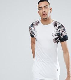 Длинная футболка с выцветшим принтом на рукавах Religion TALL - Белый