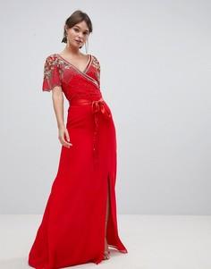 Декорированное платье макси с запахом Virgos Lounge Julisa - Красный