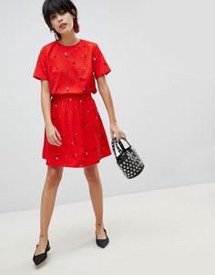 Короткая расклешенная юбка с цветочным принтом Pieces - Красный