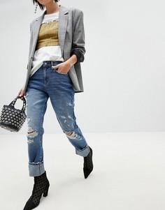 Потертые джинсы бойфренда Pieces - Синий