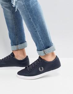 Темно-синие кожаные кроссовки Fred Perry Baseline - Темно-синий