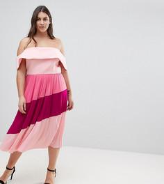 Плиссированное платье миди ASOS CURVE - Розовый