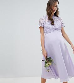 Платье миди 2 в 1 с высоким воротом и кружевом Chi Chi London Maternity - Серый