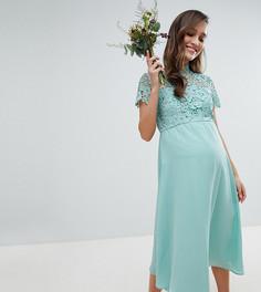 Платье миди 2 в 1 с высоким воротом и кружевом Chi Chi London Maternity - Зеленый