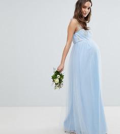 Платье макси с открытыми плечами, без рукавов и с кружевом Chi Chi London Maternity - Синий