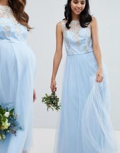 Платье макси без рукавов с кружевом и юбкой из шифона Chi Chi London - Синий