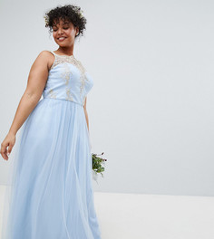 Платье макси без рукавов из кружева и тюля Chi Chi London Plus - Синий