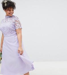 Платье 2 в 1 с кружевным топом и высоким воротником Chi Chi London Plus - Серый