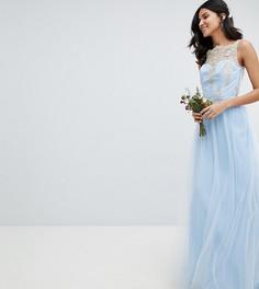 Платье макси без рукавов с кружевом и юбкой из тюля Chi Chi London Tall - Синий
