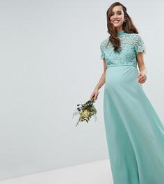 Платье 2 в 1 с кружевным топом и воротником-стойкой Chi Chi London Maternity - Зеленый
