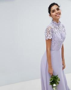 Кружевное платье макси 2 в 1 Chi Chi London - Серый