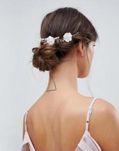 Украшение для волос с цветами кроше и искусственным жемчугом ASOS DESIGN Bridal - Серебряный