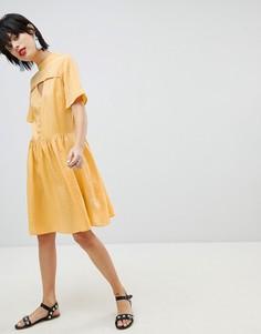 Чайное платье с пуговицами Pieces - Желтый