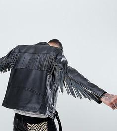 Кожаная байкерская куртка с бахромой Reclaimed Vintage Revived - Черный