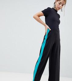 Широкие брюки с контрастными полосками по бокам ASOS DESIGN Petite - Черный