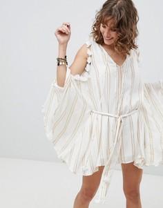 Платье с открытыми плечами и кисточками Sundress - Золотой