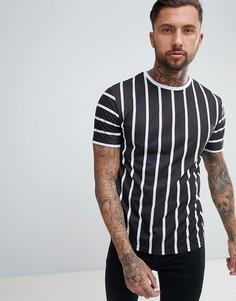 Черная футболка в полоску с круглым вырезом boohooMAN - Черный