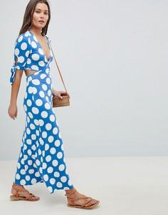 Чайное платье в горошек с запахом и бантиками на рукавах ASOS DESIGN - Мульти