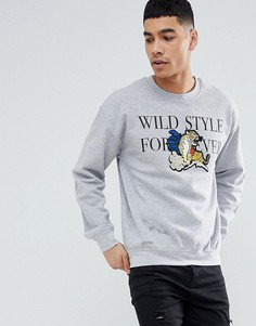Серый свитшот с вышитым тигром boohooMAN - Серый