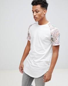 Длинная футболка с рукавами реглан с принтом Jack & Jones Originals - Белый