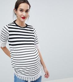 Двухслойная футболка в полоску с отделкой кроше ASOS DESIGN Maternity Nursing - Мульти