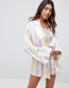 Атласный халат в полоску Missguided - Белый