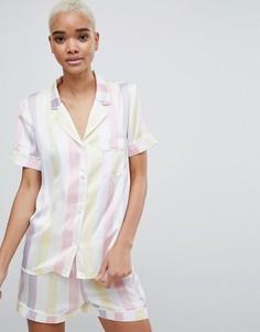 Атласная пижама в полоску Missguided - Белый
