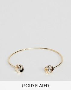 Позолоченный браслет-манжета с цветами Ted Baker - Золотой