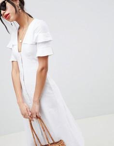 Чайное льняное платье миди на пуговицах ASOS DESIGN - Белый