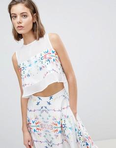 Блузка с цветочной вставкой Sabina Musayev - Белый
