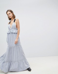 Ярусное платье в полоску Sabina Musayev - Темно-синий