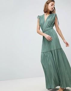 Ярусное платье металлик с мятым эффектом Sabina Musayev - Зеленый