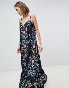 Платье макси с абстрактным цветочным принтом Sabina Musayev - Черный