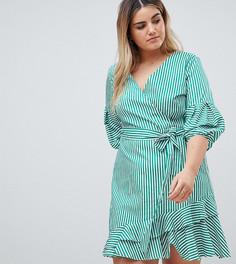 Платье мини с запахом, поясом и оборками River Island Plus - Зеленый