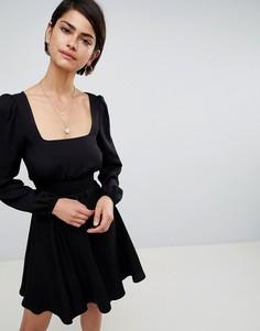 Приталенное платье мини с квадратным вырезом ASOS DESIGN - Черный