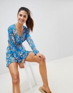 Трикотажные шорты с цветочным принтом Boohoo - Синий