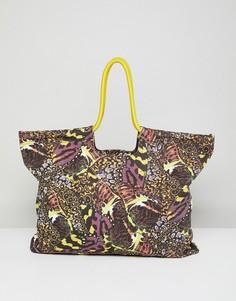 Пляжная сумка с принтом бабочки Monki - Мульти