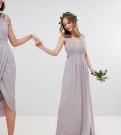 Платье макси с плиссировкой TFNC Petite - Серый