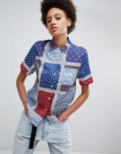 Оверсайз-рубашка с принтом пейсли Stussy - Синий