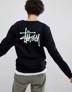 Оверсайз-свитшот с большим логотипом Stussy - Черный