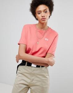Оверсайз-футболка с небольшим логотипом на груди Stussy - Розовый