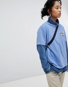 Oversize-футболка с логотипом Stussy - Синий