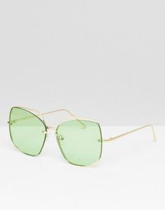 Большие квадратные солнцезащитные очки ASOS DESIGN - Зеленый
