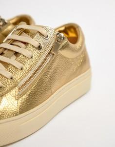 Кожаные золотистые кроссовки на молнии HUGO - Золотой