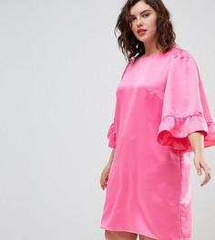 Платье с оборками на рукавах Junarose - Розовый
