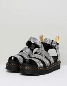 Серебристые сандалии с ремешками Dr.Martens Blaire Vegan - Серебряный