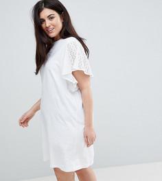 Платье-футболка с вышивкой на рукавах ASOS CURVE - Белый