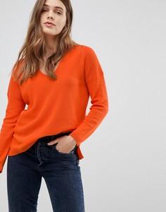 Джемпер в рубчик с V-образным вырезом Esprit - Оранжевый